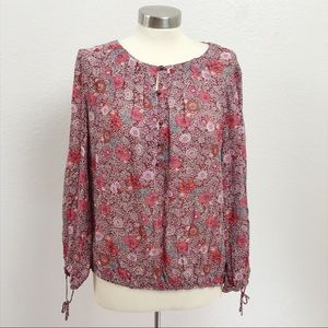 Lucky Brand Floral Bohemian Top Blouse Size M